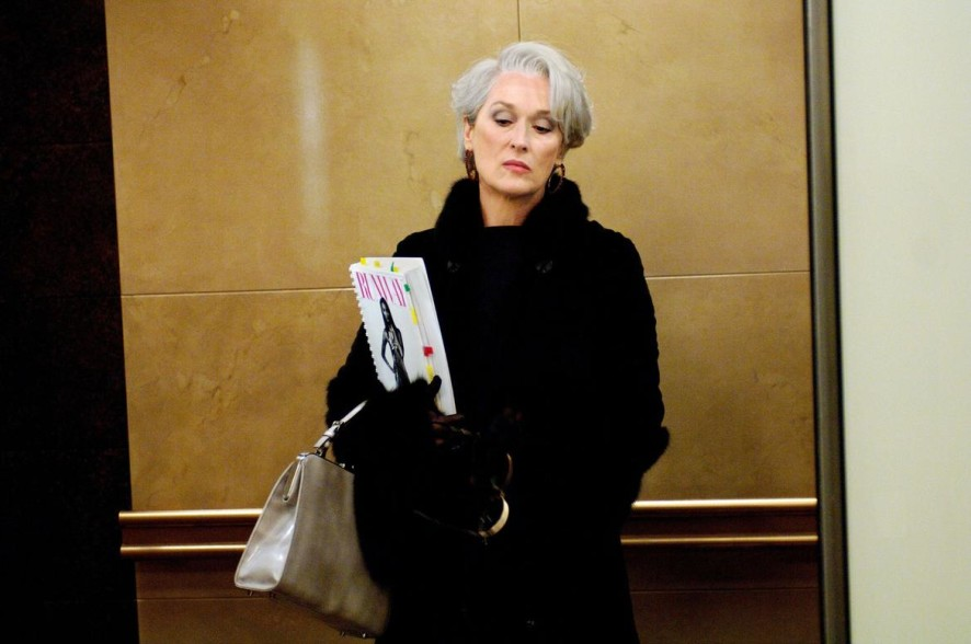 DWP – 49	Miranda Priestly (Meryl Streep) wears a Dennis Basso fur coat with mink sleeves and collar; gloves by Giorgio Armani and grey leather handbag by Prada. PHOTOGRAPHS TO BE USED SOLELY FOR ADVERTISING, PROMOTION, PUBLICITY OR REVIEWS OF THIS SPECIFIC MOTION PICTURE AND TO REMAIN THE PROPERTY OF THE STUDIO. NOT FOR SALE OR REDISTRIBUTION.